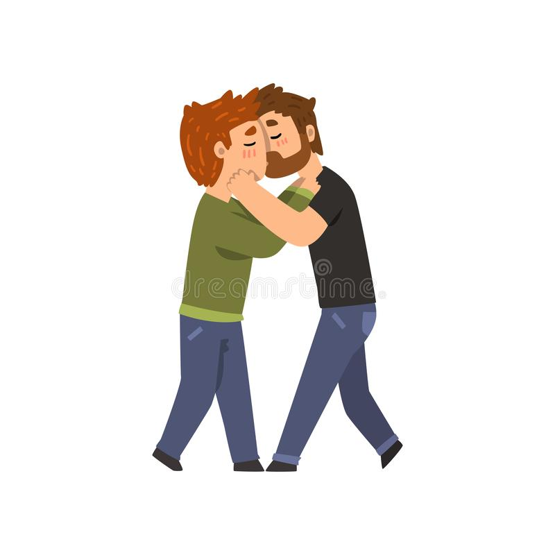 Couple of gay men embracing and kissing, lgbt men in love cartoon vector Illustration. Isolated on a white background royalty free illustration