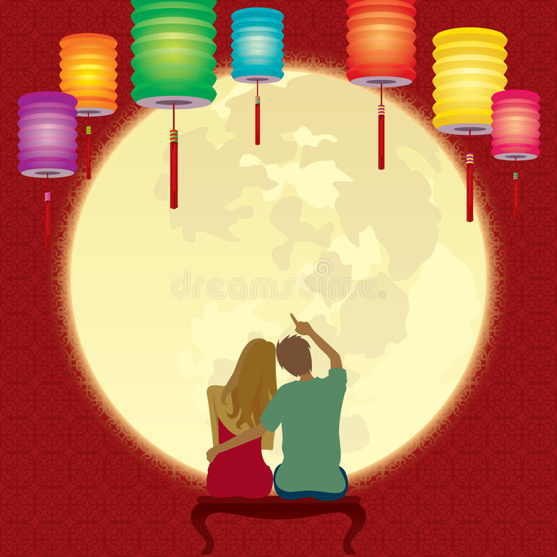 Couple gaze at the glorious full moon royalty free illustration