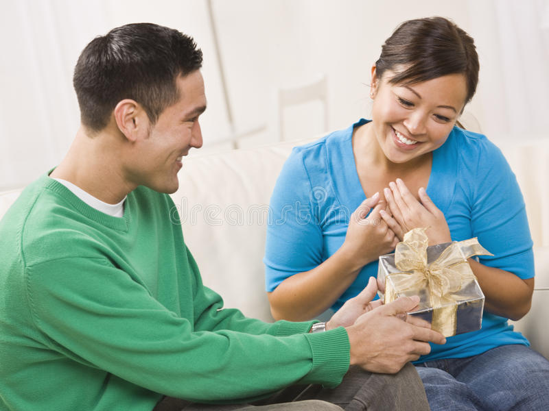 Download Couple with Gift stock image. Image of gift, horizontal - 9913895