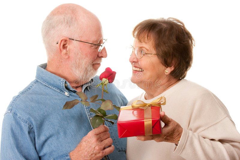 couple gift happy red rose senior στοκ φωτογραφίες