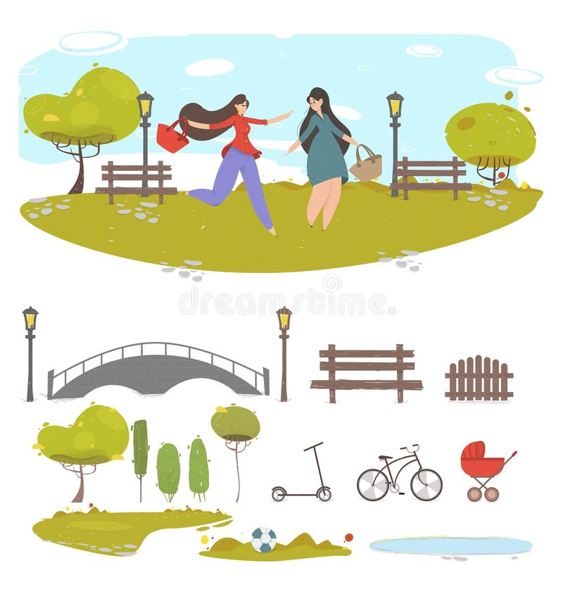 Couple of Girl Friends Walking in Summer City Park. Couple Girl Friends Walking in City Park at Summer Time Creative Set with Cut Out Design Element for Creation vector illustration