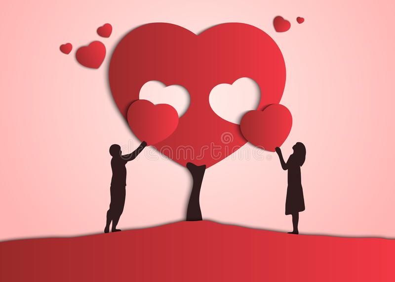 Couple give each other valentines. The guy and the girl create their love tree. stock illustration