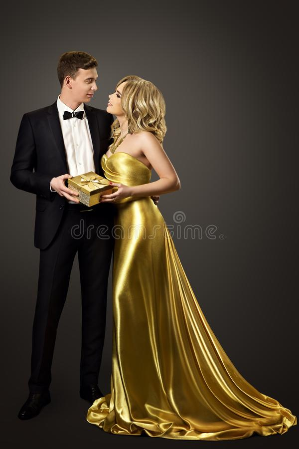 Couple Give Present Gift Box, Fashion Man Woman Beauty Portrait stock photography
