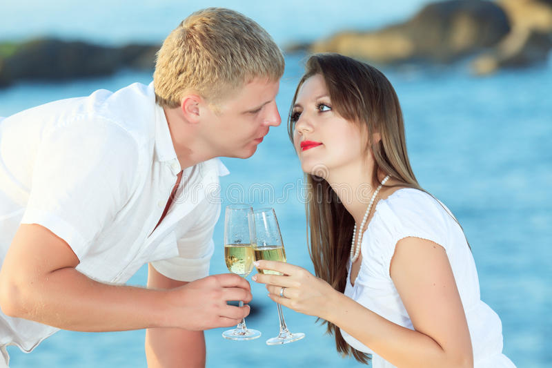 Couple with glasses royalty free stock photo