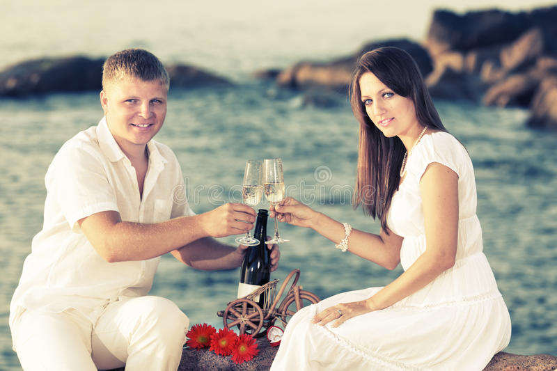 Couple with glasses stock photography
