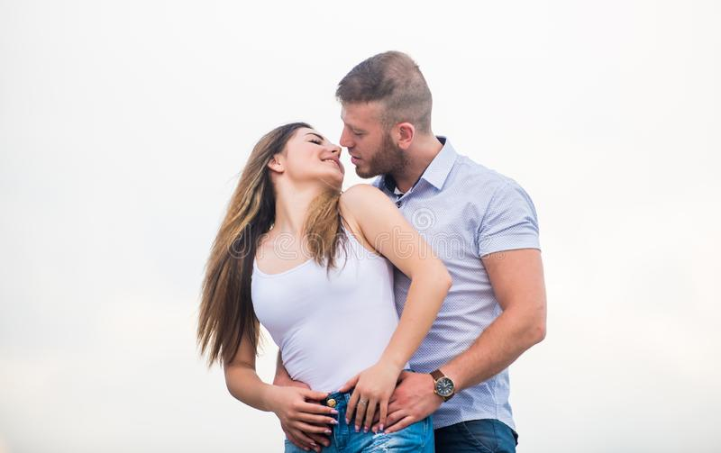 Couple goals concept. Love story. Romantic relations. Cute and sweet relationship. Couple in love. Man and woman cuddle. Couple goals concept. Love story royalty free stock photography