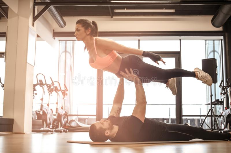 Couple goals. Exercise together make great results. Healthy lifestyle stock images