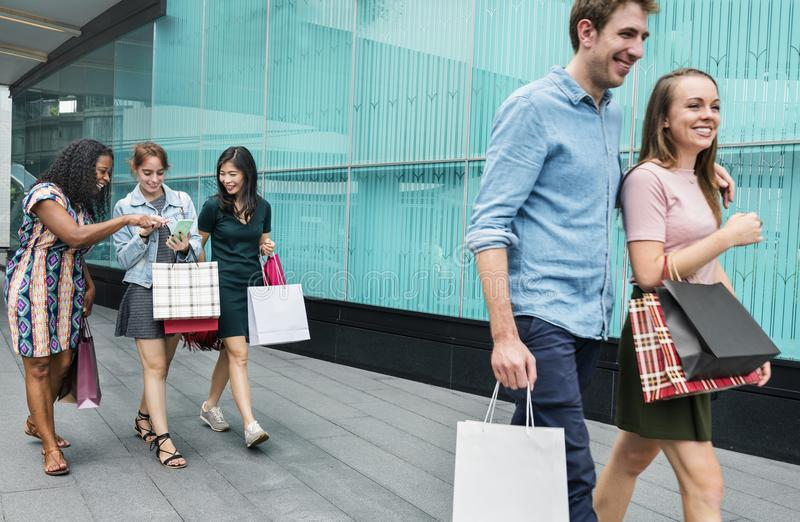 A couple going shopping together stock image