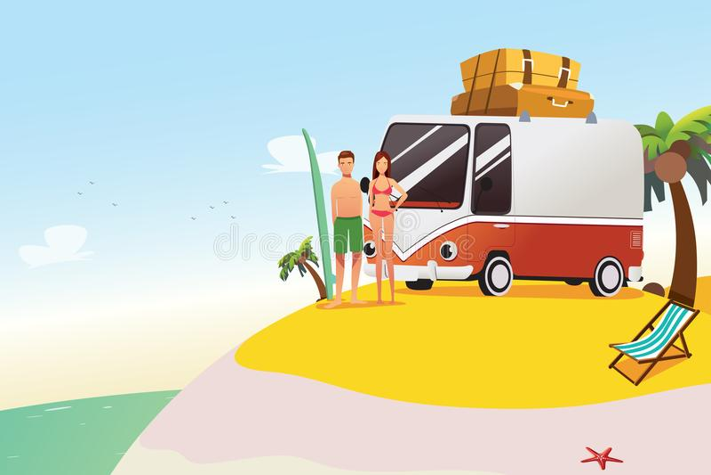 Couple Going on Surfing Summer Vacation Illustration vector illustration