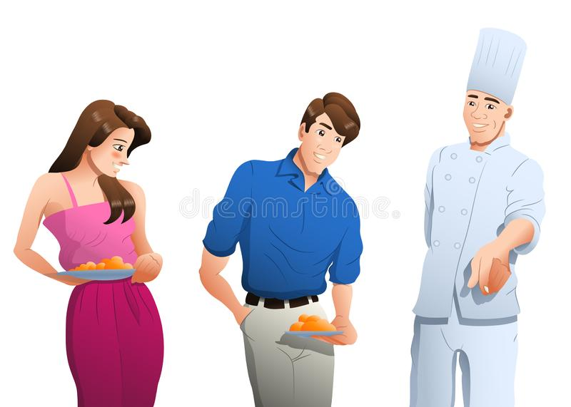 Couple going to eat guided by the chef on isolated white background. Illustration of a couple going to eat guided by the chef on isolated white background, art vector illustration
