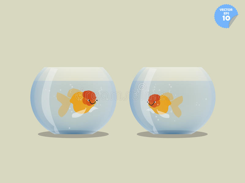 Couple goldfish in separated bowl. Isolated goldfish in bowl, friendship concept stock illustration
