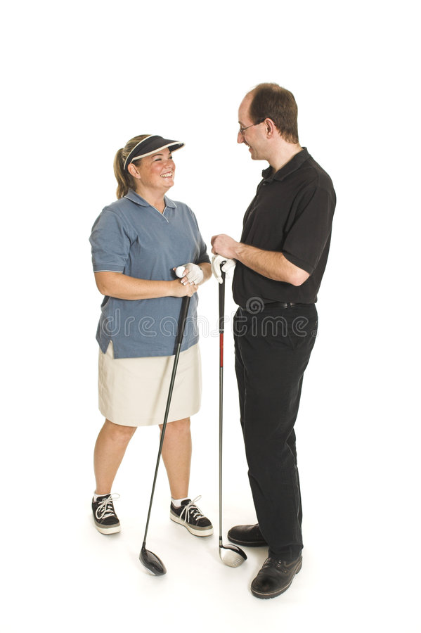 Couple with golf club royalty free stock images