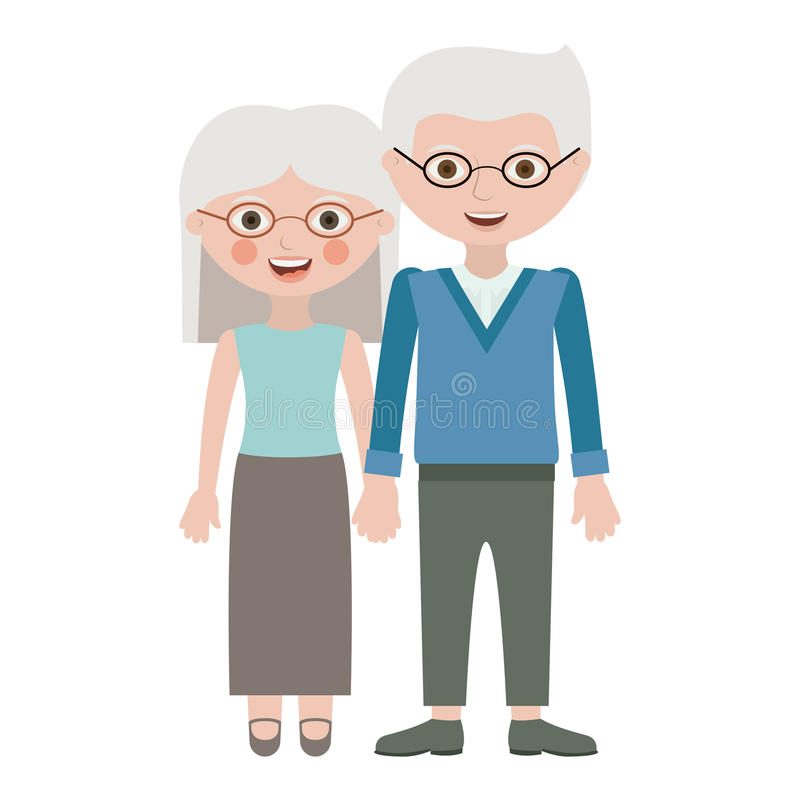 Couple of grandparents cartoon design. Couple of grandparents cartoon icon. Relationship family love and romance theme. Isolated design. Vector illustration stock illustration