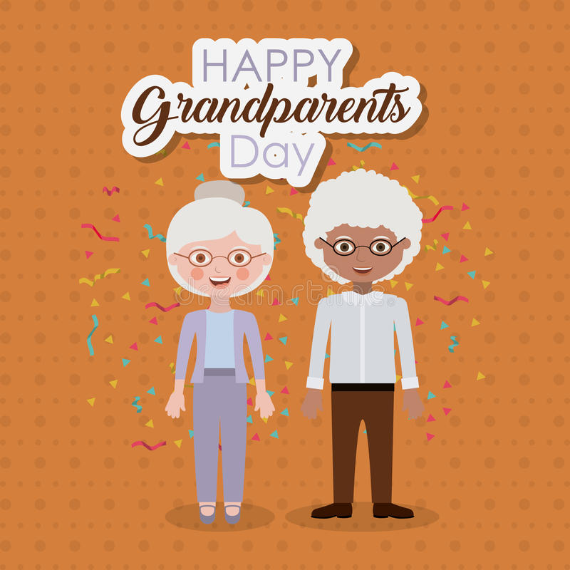 Couple of grandparents design. Couple of old man and woman icon. Grandparents generation and family theme. Colorful design. Vector illustration stock illustration