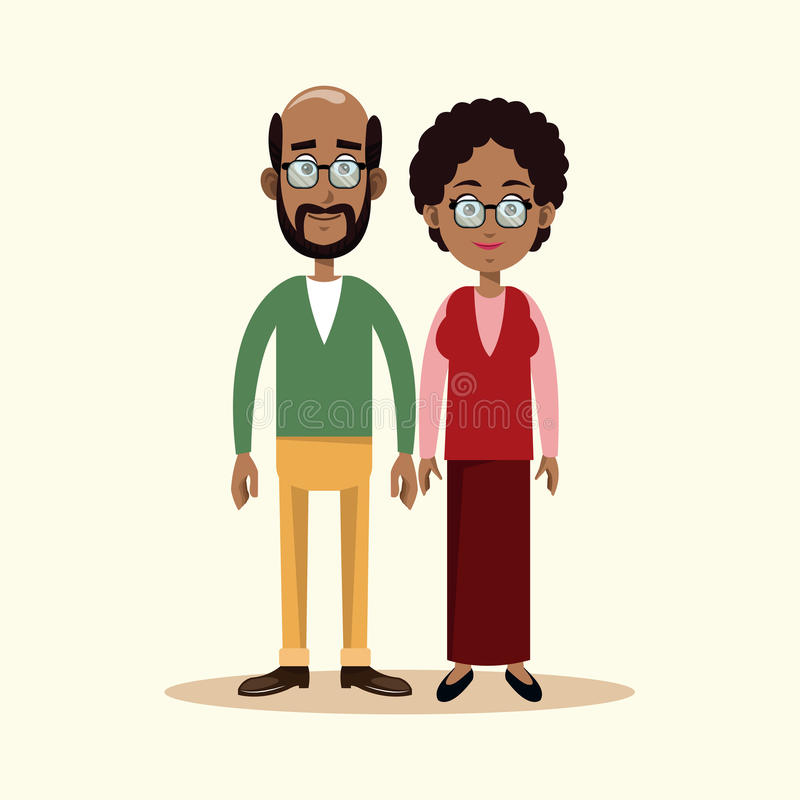 Couple grandparents family image. Illustration eps 10 vector illustration