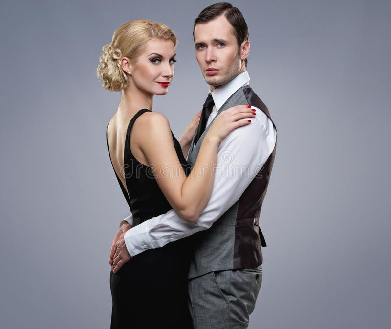 Couple  On Grey Stock Image
