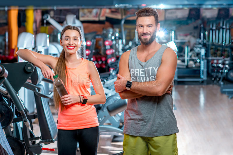 Couple in the gym royalty free stock photo