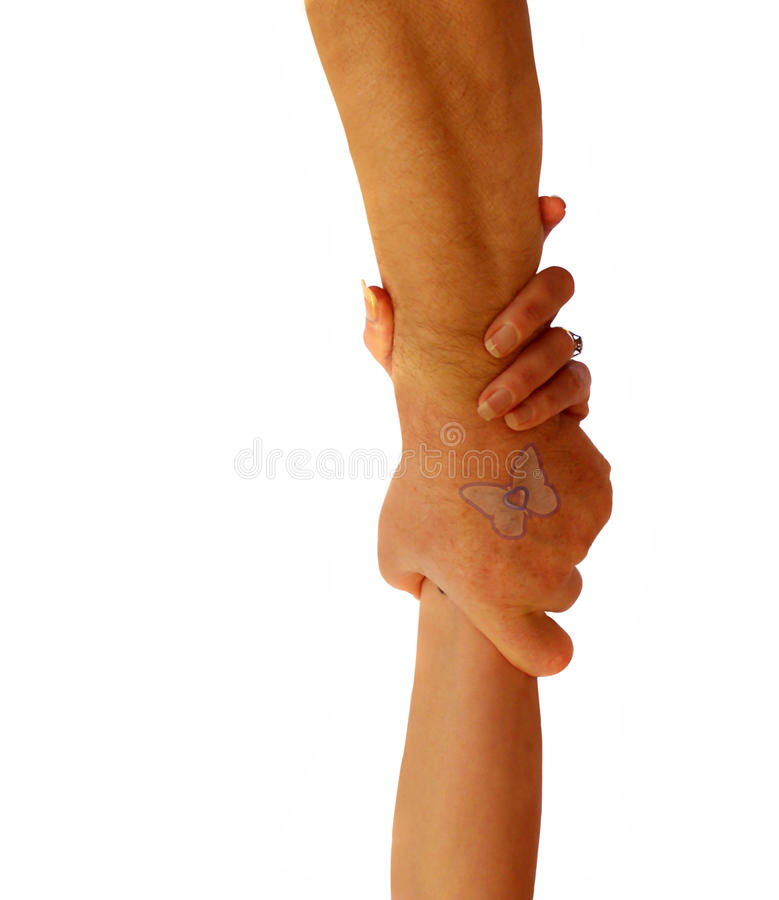 Couple with hands holding stock photo
