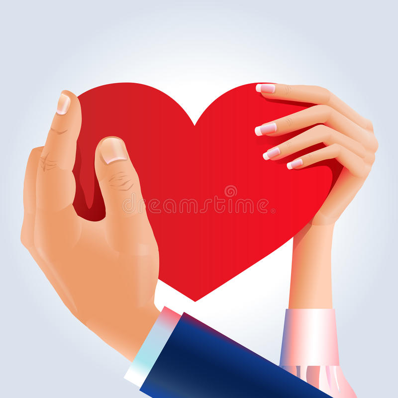 Couple hands holding red heart vector illustration