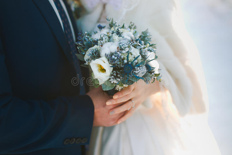 Couple hands on wedding royalty free stock photography