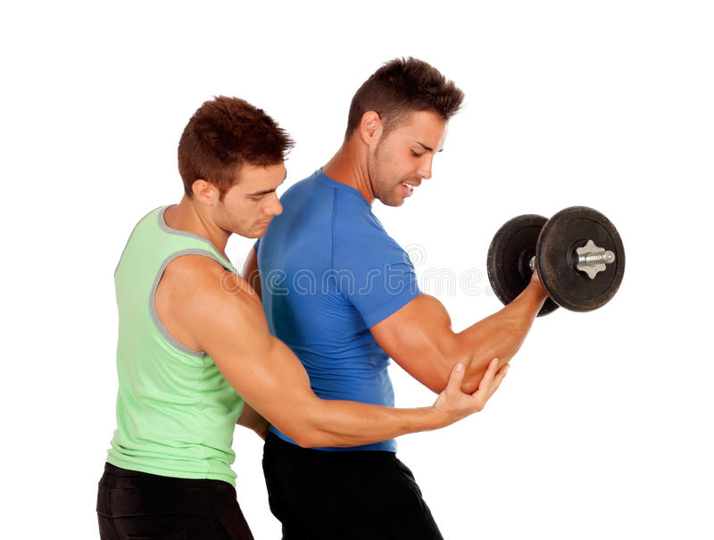 Couple of handsome muscled men training. Isolated on a white background stock photography