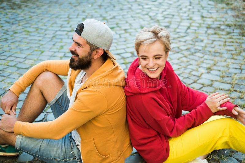 Couple hang out together. Carefree people. Youth just want have fun. Freedom feeling. Youth fashion. Feeling free and royalty free stock photography