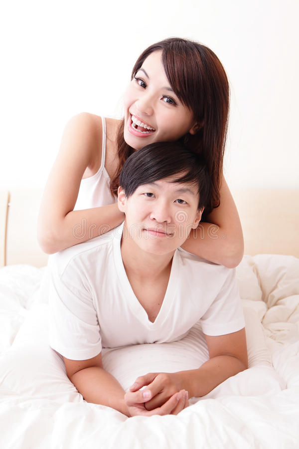 Download Couple happy smile in bed stock image. Image of lying - 33683835