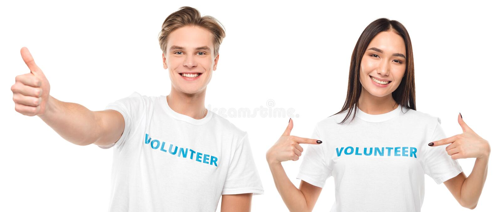 Couple of happy volunteers doing different gestures. Isolated on white royalty free stock photo