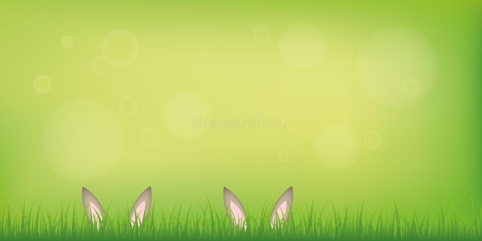 Couple hare bunny ears hide in the lawn on green spring background. Vector illustration EPS10 vector illustration