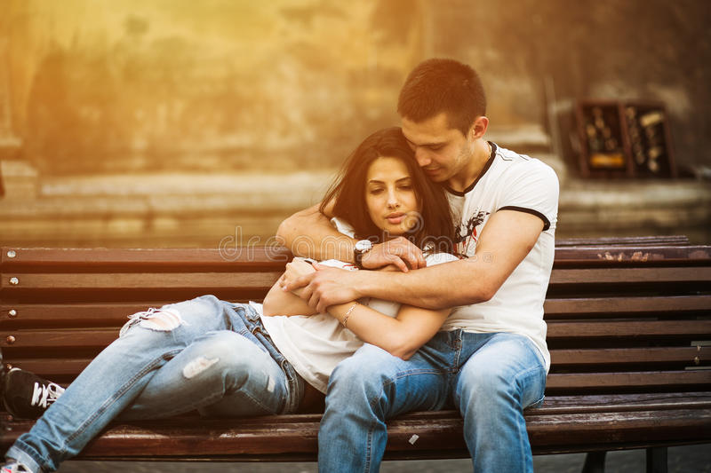 Couple have fun in the city royalty free stock photo