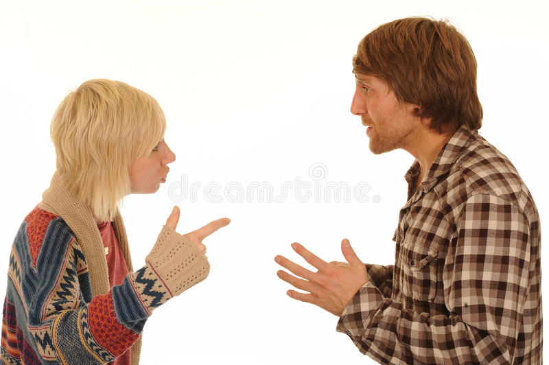 Couple having argument. Young couple having an argument stock photo