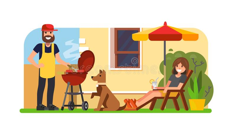 Couple having a bbq on backyard. Vector flat illustration stock illustration