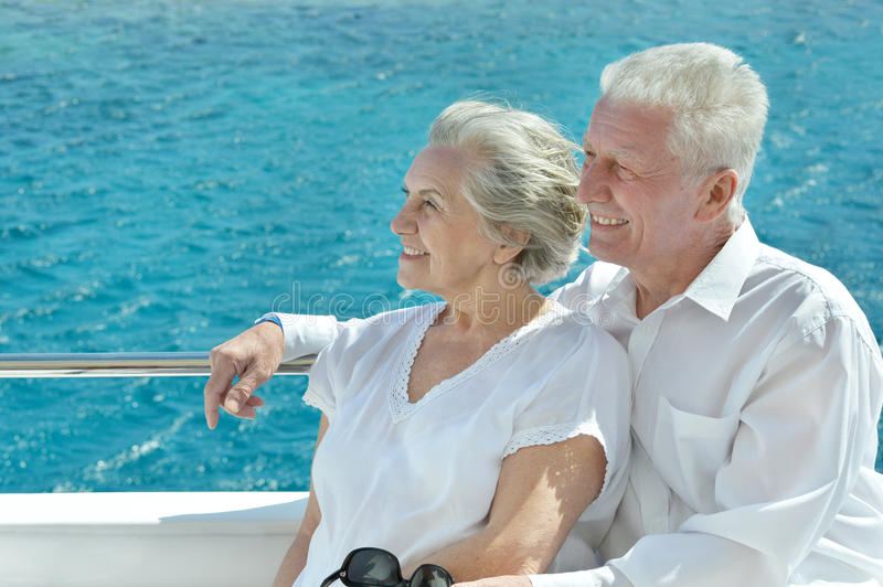 Couple having boat ride royalty free stock images