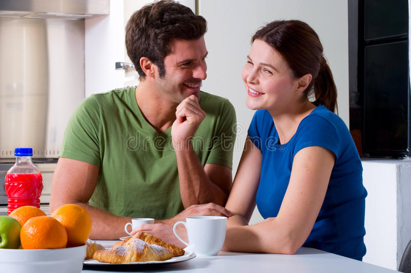 Couple having breakfast royalty free stock image