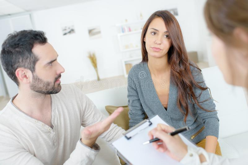 Couple having counselling stock photos