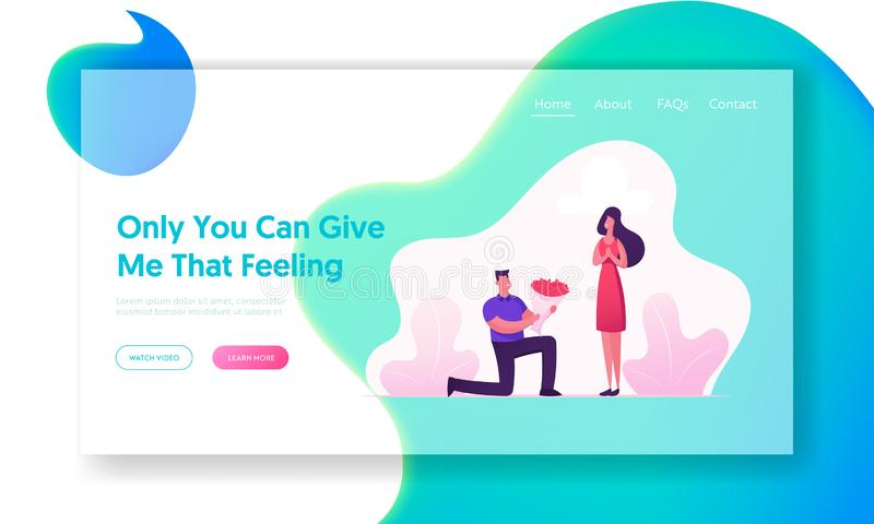 Couple Having Dating Website Landing Page. Happy Girl Get Bouquet of Flowers from Boyfriend Standing on Knee. Man Give Present. To Girlfriend. Love Web Page stock illustration