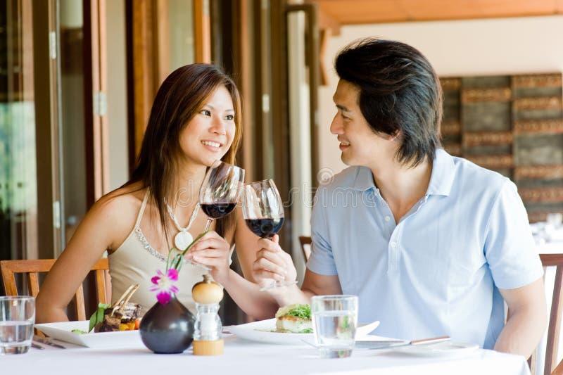 Couple Having Dinner stock photos
