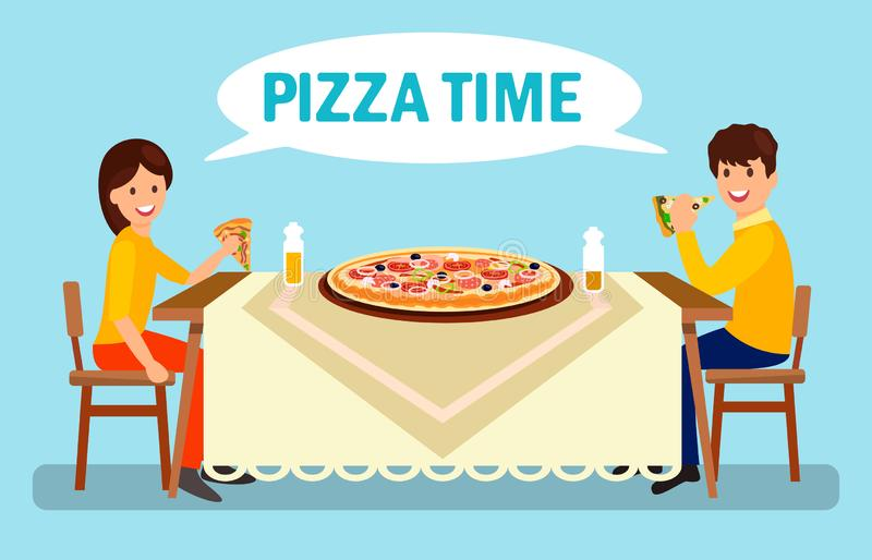 Couple Having Dinner in Pizzeria Flat Illustration. Man and Woman Eating Huge Pizza. Cartoon Boyfriend and Girlfriend Talking in Restaurant. Large Pepperoni vector illustration