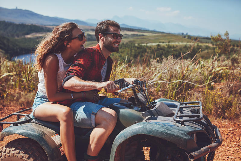 Couple having fun on an off road adventure stock photos