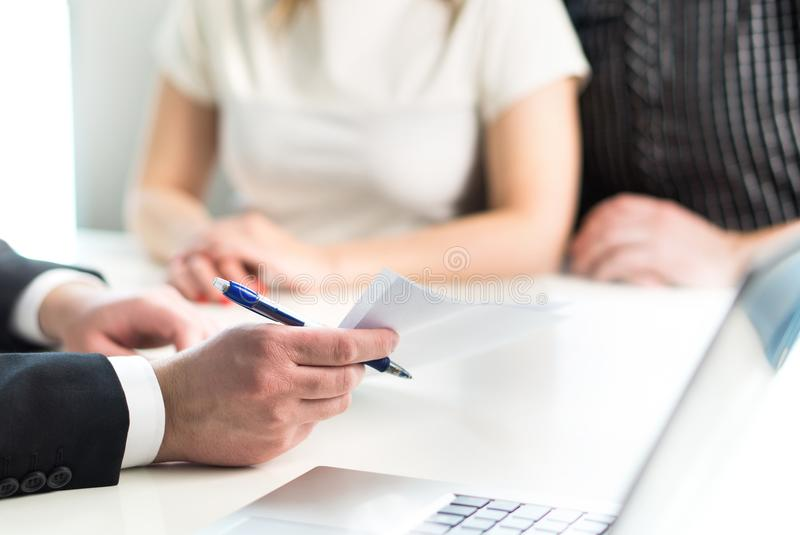 Couple having meeting with legal advisor, real estate agent. royalty free stock photos
