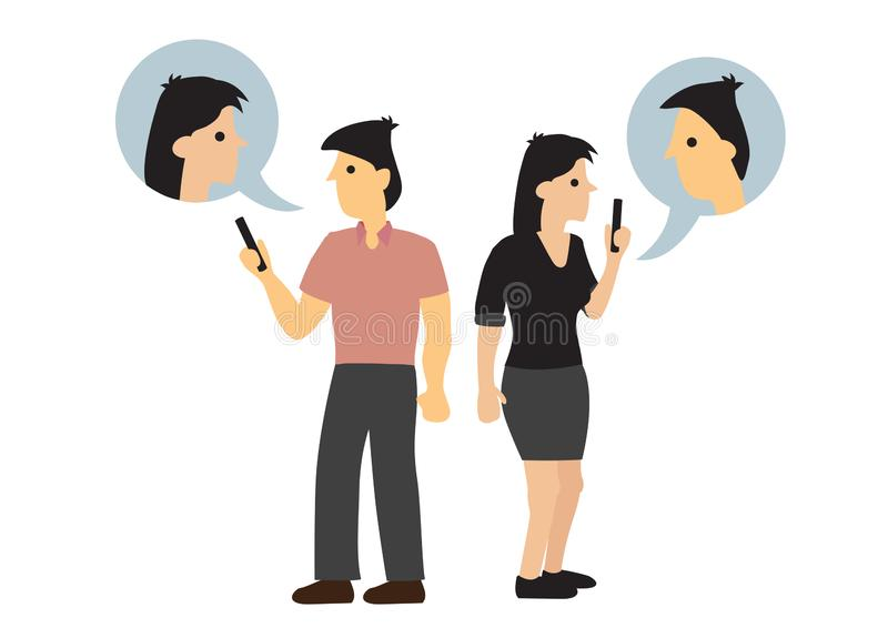 Couple having an online conversation even they are next to each other. Concept of casual conversation stock illustration