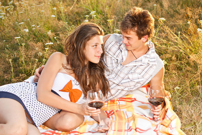 Download Couple having a picnic stock photo. Image of relationship - 25924496