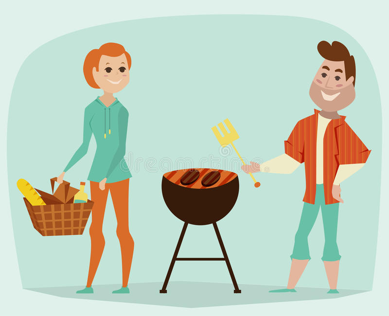 Couple having a picnic. Bbq party concept. Cartoon vector. Illustration vector illustration