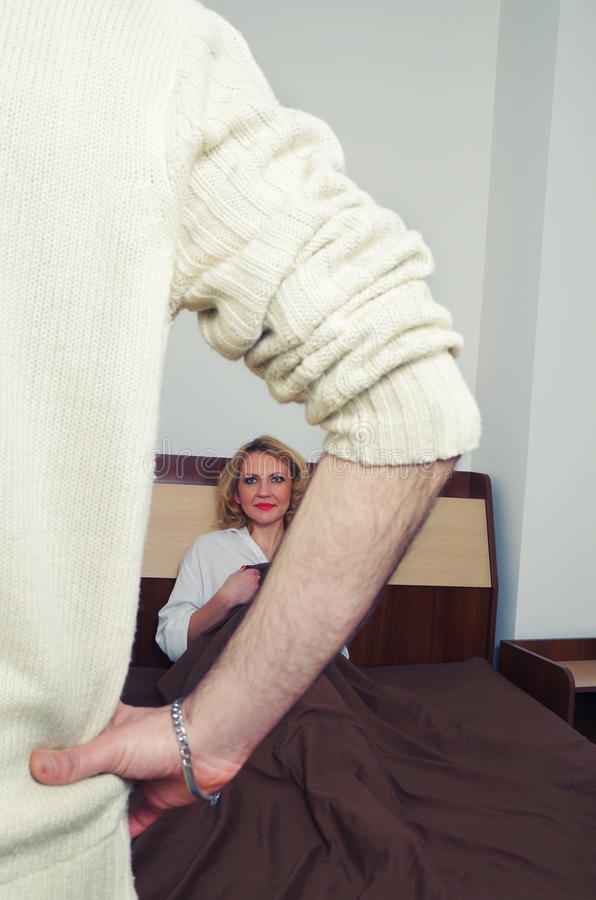 Couple having problems in the bedroom stock image
