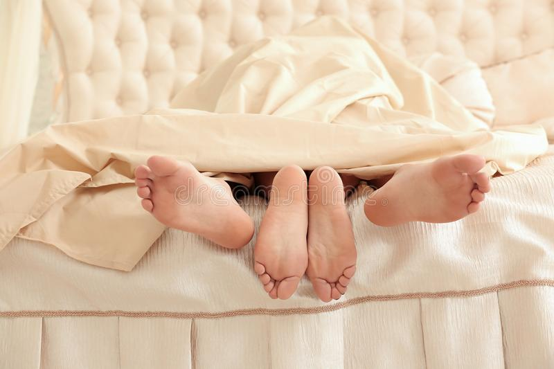 Couple having sex under blanket stock photo