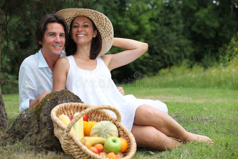 Couple Having  Vegetarian Picnic. Royalty Free Stock Image