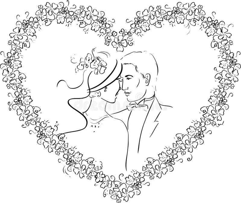 Download Couple in a Heart stock vector. Illustration of marriage - 34245913