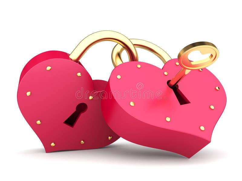 Couple of hearts. A couple of padlock locked hearts royalty free illustration
