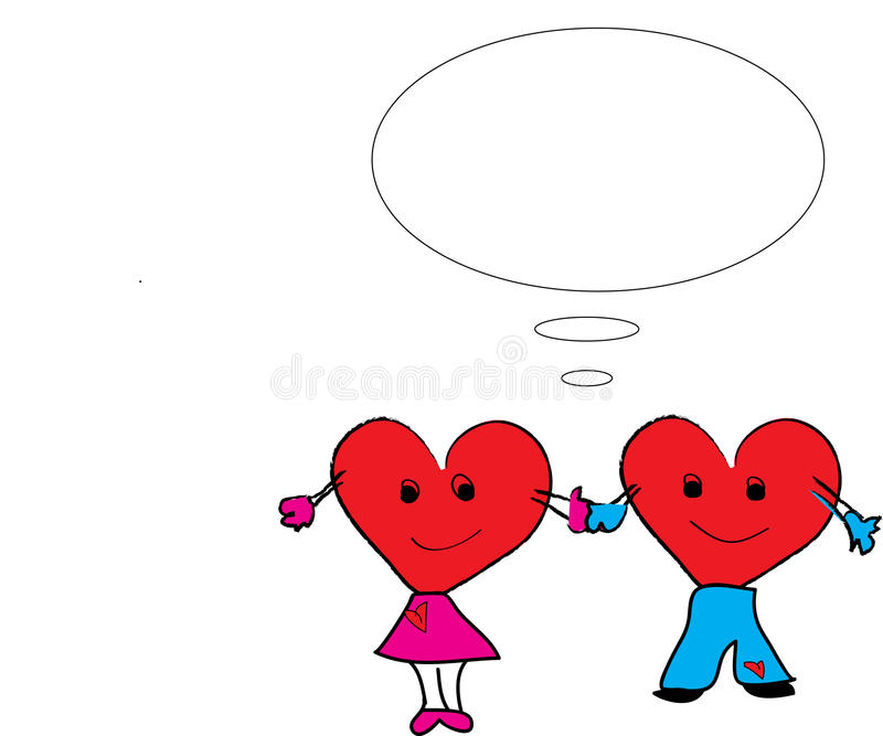 Couple hearts holding hands royalty free illustration