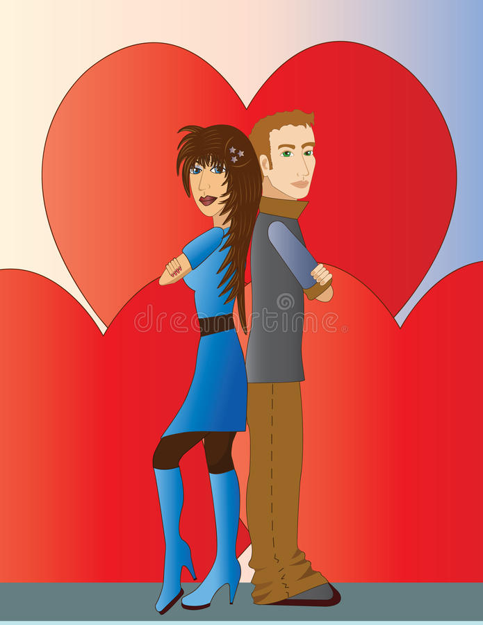 Couple with Hearts royalty free illustration
